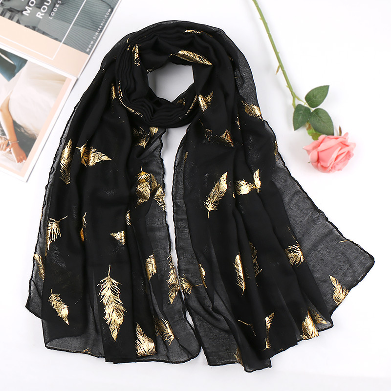 2020 Women Plain Cotton Muslim Scarf Head Hijab Wrap Glitter Leaves Solid Full Cover-up Shawls Foulard Femme Hijabs Store