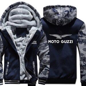 Image 2 - Moto Guzzi bluzy z kapturem kamuflaż rękaw kurtka z kapturem na zamek zima polar Moto Guzzi bluza