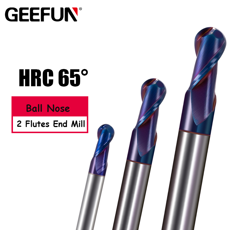 Ball Nose end mill Blue NaCo Coated HRC65 R0.5-R3mm Solid carbide 2 flute end mills CNC machine milling cutter <font><b>Tools</b></font> image