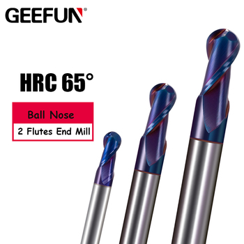 Ball Nose end mill Blue NaCo Coated HRC65 R0.5-R3mm Solid carbide  2 flute end mills CNC machine milling cutter Tools high hardness steel machining series zcc ct hm 4b r6 0 solid carbide 4 flute ball nose end mills with straight shank