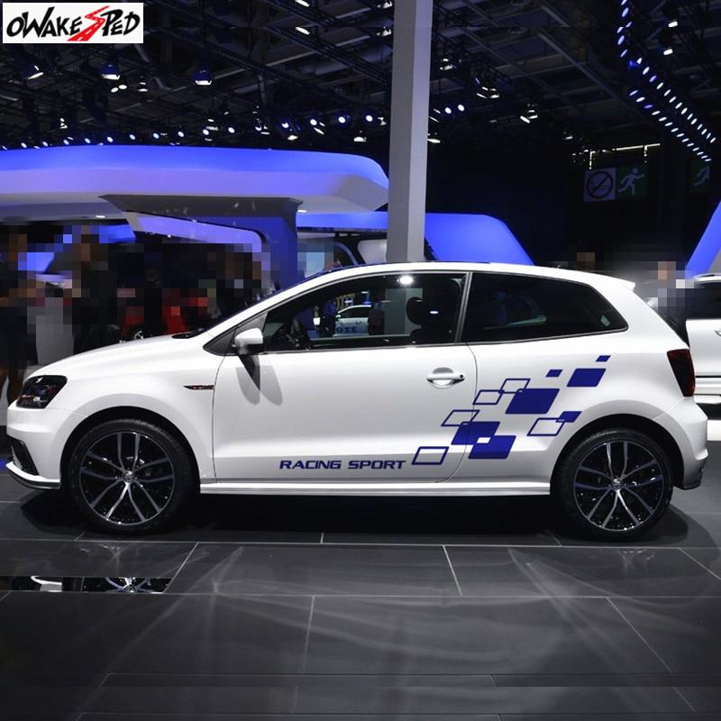 Racing Lattices Sticker Car Body Door Decor Vinyl Decal Both Side DIY Sticker For Volkswagen-POLO Golf CC GTI-R LINE-R WRC-TSI