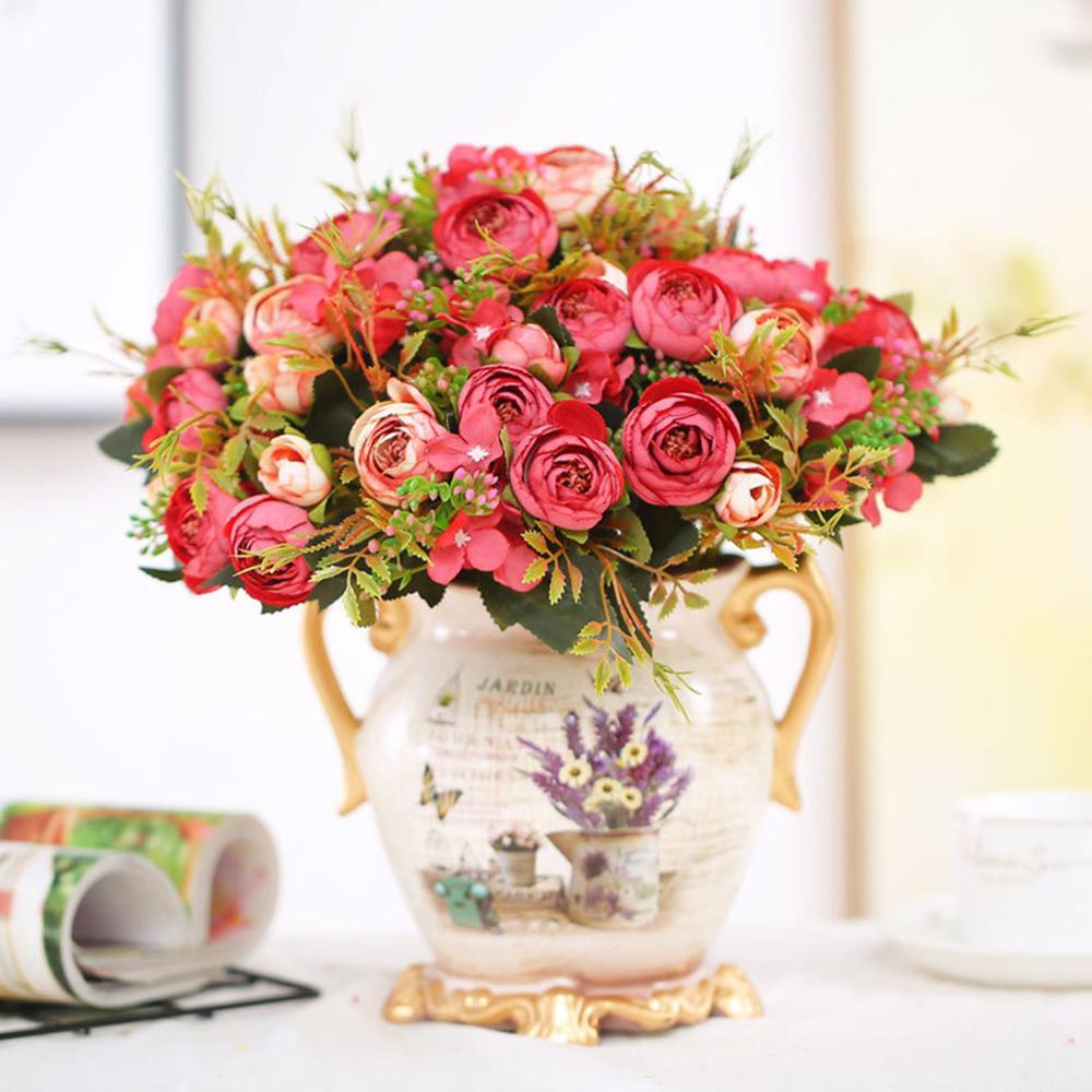 Artificial Flowers Peony Vivid Silk Roses Wedding Home Decorations Fake Silk Floral Bridal Wedding Party Decor wreath Gland