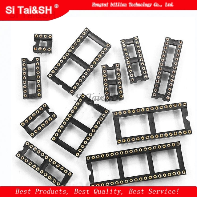 10PCS Round Hole IC socket Connector DIP 6 8 14 16 18 20 24 28 40 pin Sockets DIP6 DIP8 DIP14 DIP16 DIP18 DIP20 DIP28 DIP40 pins 1