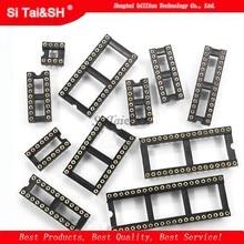 Conector de tomada ic para orifício redondo, conector dip 6 8 14 16 18 20 24 28, 40 soquetes de pino dip6, com 10 peças dip8 dip14 dip16 dip18 dip20 dip28