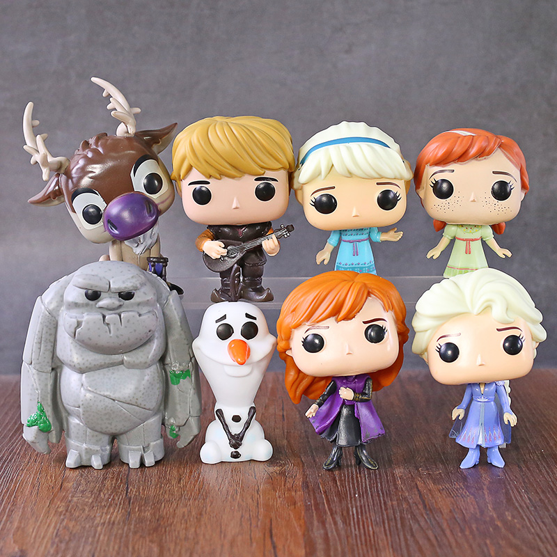 Elsa Anna Olaf Kristoff Sven Earth Giants Q Version Figure Big Head Dolls Model Toys 8pcs/set
