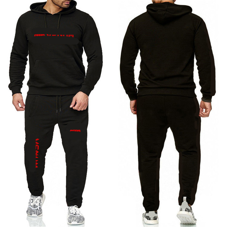 2019 Lettered Print Loose-Fit Leisure Suit Men And Women Sports Running Two-Piece Fleece Warm Hoodie Men's