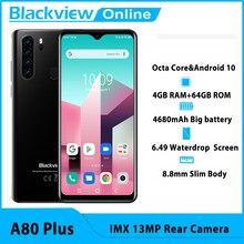 Blackview novo a80 além de núcleo octa do telefone móvel 4gb ram + 64gb rom imx 13mp câmera traseira face id impressões digitais waterdrop 4g celular