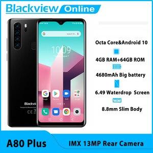 Image 1 - Blackview nouveau téléphone portable A80 Plus Octa Core 4GB RAM + 64GB ROM IMX 13MP caméra arrière identification des empreintes digitales Waterdrop 4G téléphone portable