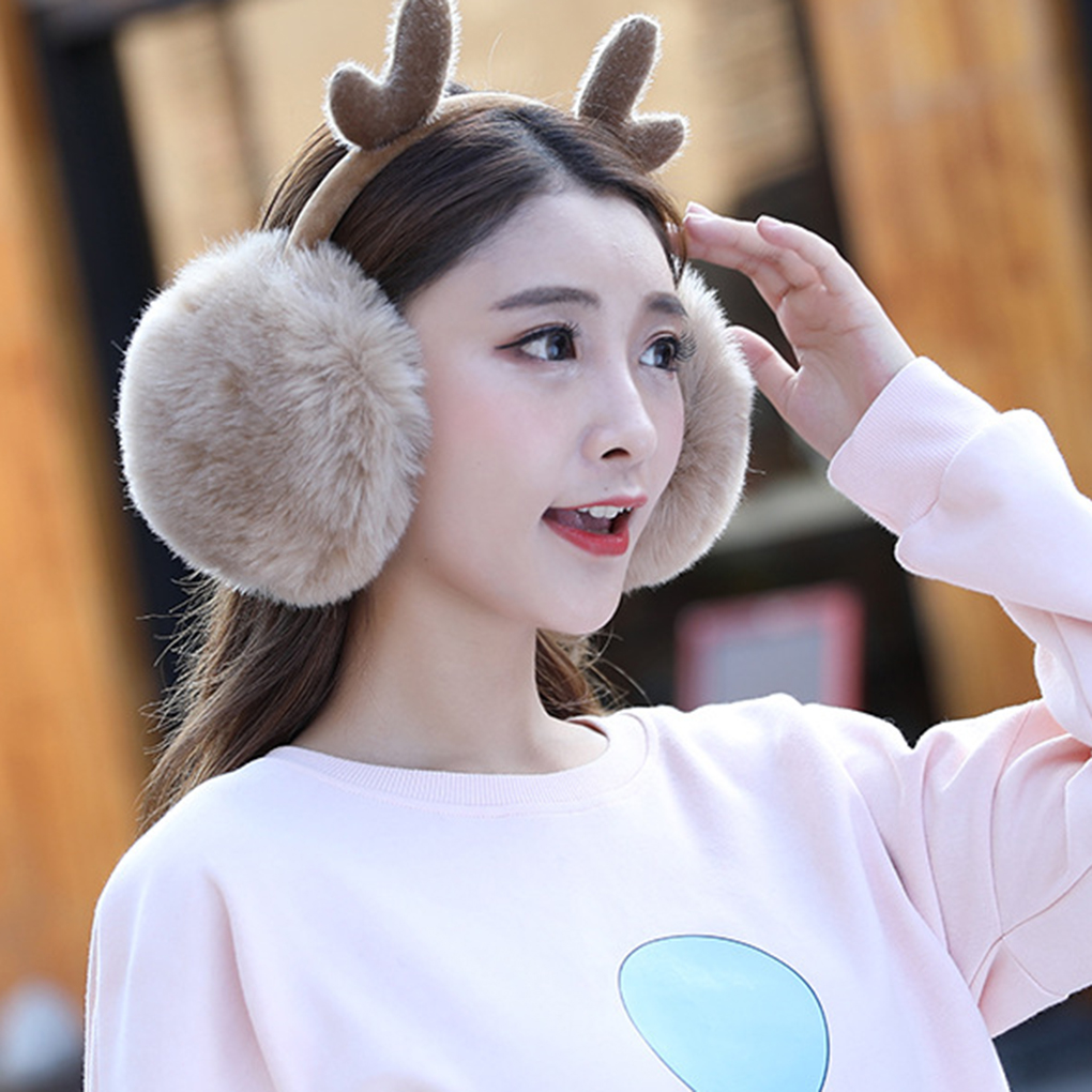 Women Girls Warm Earmuffs Cute Plush Elastic Outdoor Winter Ear Covers Cozy Ear Warmers