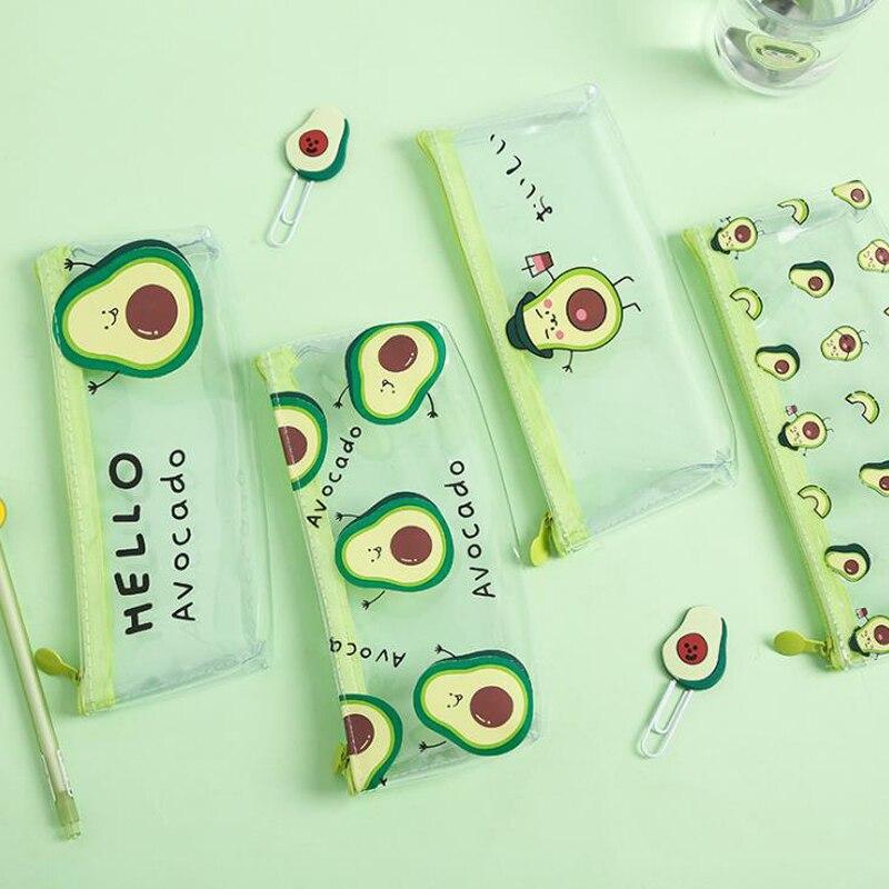 1 Pcs Kawaii Fruit Avocado Transparent Pencil Case School Pencilcase Pencil Bags PVC Zipper Pen Box School Office Stationery