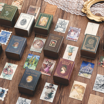 100pcs Vintage Stamp Book collection series Kraft Paper Mini Greeting Card Postcard Letter Envelope DIY Decoration LOMO Cards