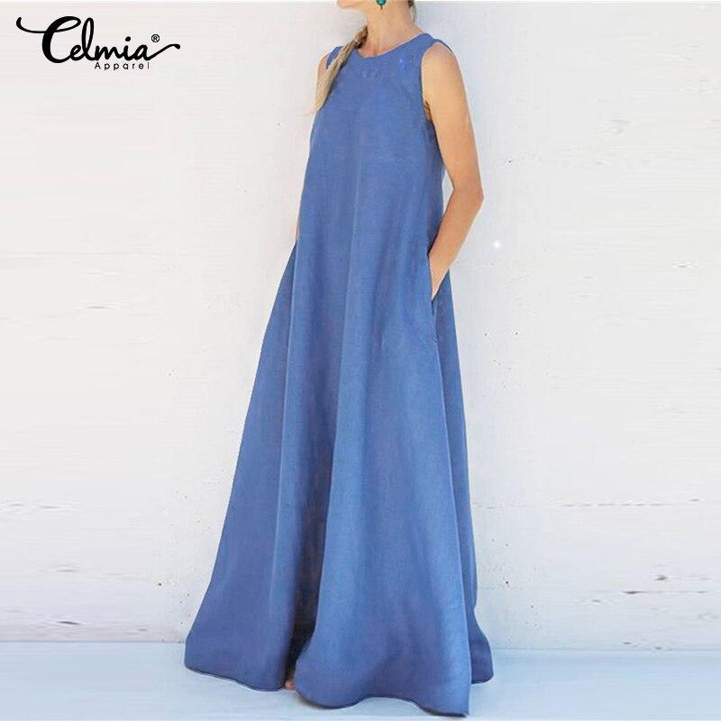 Plus Size Sundress 2019 Celmia Women Summer Sleeveless Maxi Long Dress Casual Loose Solid Party Maxi Dress Holiday Vestidos Robe
