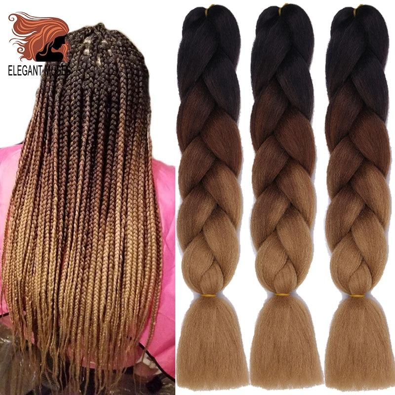 ELEGANT MUSES 100g 24inch Crochet Hair Synthetic Hair Long Ombre Braiding Hair Jumbo Box Braid  Braiding Hair Extensions