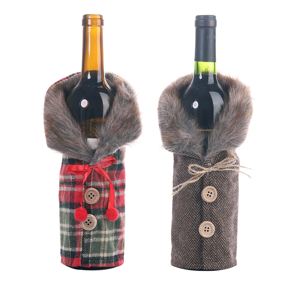 6 pieces/lot Christmas Wine Bottle Holder Striped Plaid Skirt Wine Bottle Cover Christmas Gift Bag New Year Table Decoration