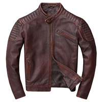 Factory 2019 Men Vintage Red wine Motorcycle Genuine Leather Jacket Real Thick Cowhide Short Leather bomber Biker jackets