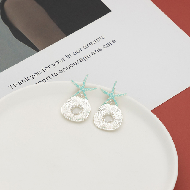 Jaeeyin 2021 New Arrival Bohemia Blue Enamel Ocean Starfish Conch Shell Stud Earrings Gold Color Jewelry Gift For Girls Children 3