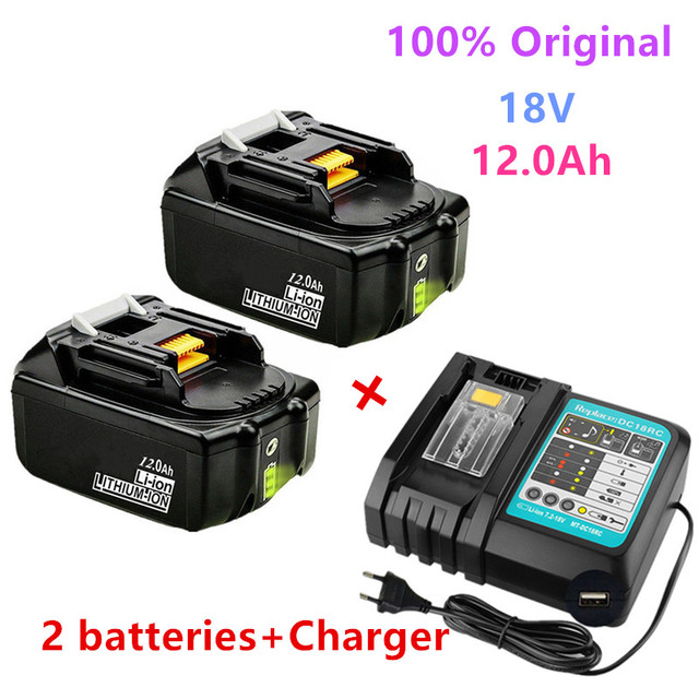 100% Original 18V battery For Makita 18V 12000mAh Super high power rechargeable battery Replacement LXT BL1860B BL1860 BL1850