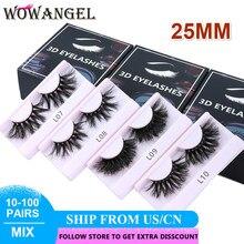 Wowangel 10/20/30/50/100 pares atacado vison cílios 25mm grosso fofo cílios falsos dramática longo falso olho lash maquiagem ferramentas