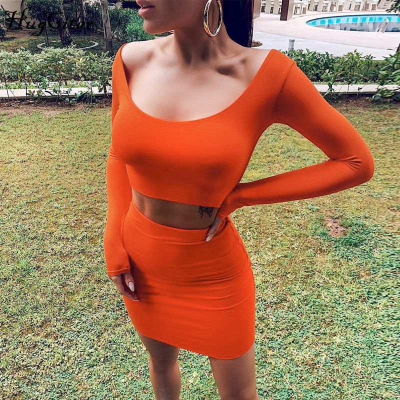 Hugcitar 2019 Long Sleeve Long Sleeve Sexy Crop Tops Skirt 2 Two Pieces Set Autumn Winter Women Party Streetwear Tracksuit