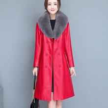 Jacket Autumn Leather Women Winter Large-Size New Fashion M-7XL JK236 Fur-Collar Solid-Color
