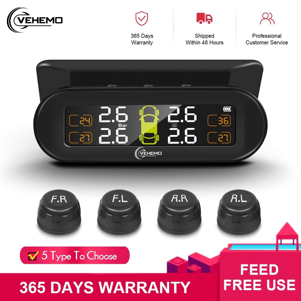 VEHEMO Solar Power Car TPMS Tire Pressure Alarm Monitor System Auto Digital Security Alarm Systems Tire Pressure Monitoring