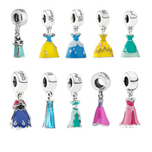Dress Beads Fit Pandora Bracelets 100% 925 Sterling Silver Ariel Belle Cinderella Snow White Anna Elsa& Alice in a Bottle Charm