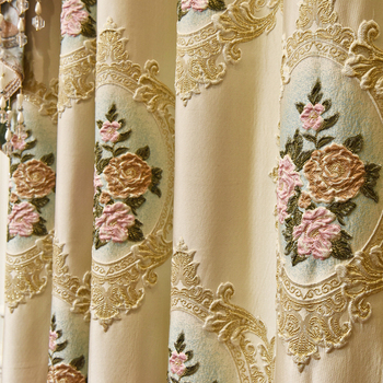 European luxury Curtains for bedroom embroidered  Blackout window high quality Jacquard curtains for living room Kitchen luxury europe embroidered window curtains for living room bedroom blackout tulle curtains window pastoral home decor