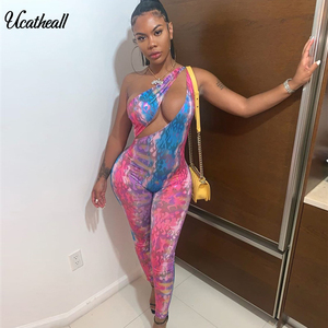Summer Women Bodycon Jumpsuits Sexy Sheer Hollow Out Shoulder Jumpsuit Rompers Women Sleeveless Print Skinny Party Club Overalls(China)