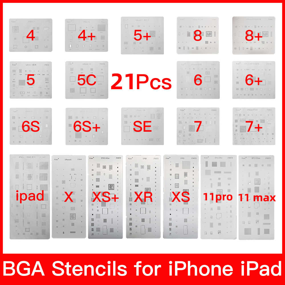 19 pcs set completo IC Chip BGA Reballing Stencil Kit per il iPhone XS MAX XR 8p 7 6 s 6 SE 5S 5C 5 4 4S iPad di alta qualità