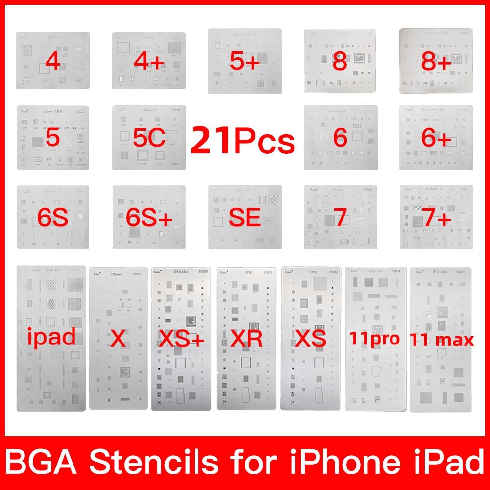19 шт. полный набор микросхем, наборы трафаретов для пайки bga для iPhone XS MAX XR 8p 7 6s 6 SE 5S 5C 5 4S iPad, высокое качество
