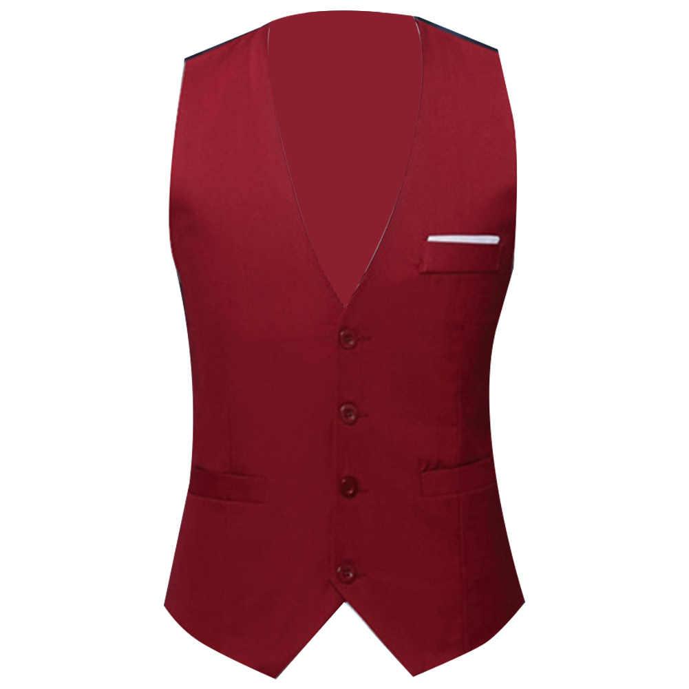 Mężczyźni formalne kamizelki strój kamizelka Slim trzy przyciski poliester + elastan kamizelka mężczyźni dorywczo kamizelka bez rękawów brytyjski Autumnn garnitur