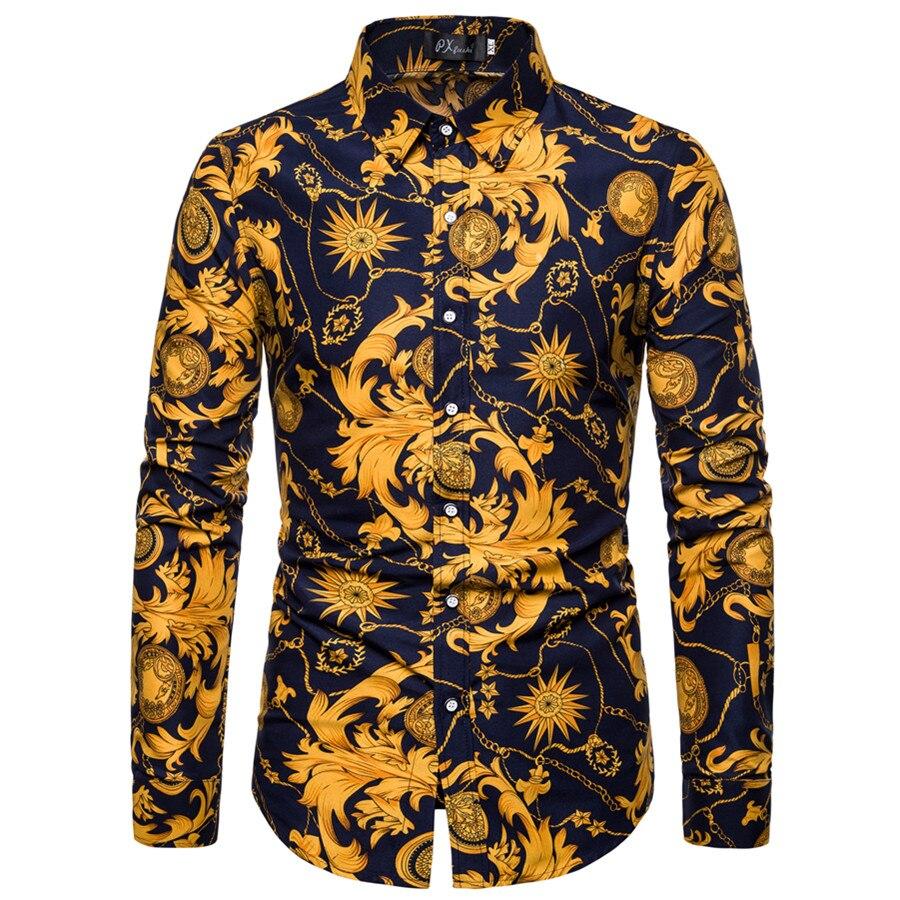 Men Shirt 2019 Spring Summer New 3D Print Patchwork Flower Shirt Fashion Trend Brand Clothing Slim Society Street Shirt Men
