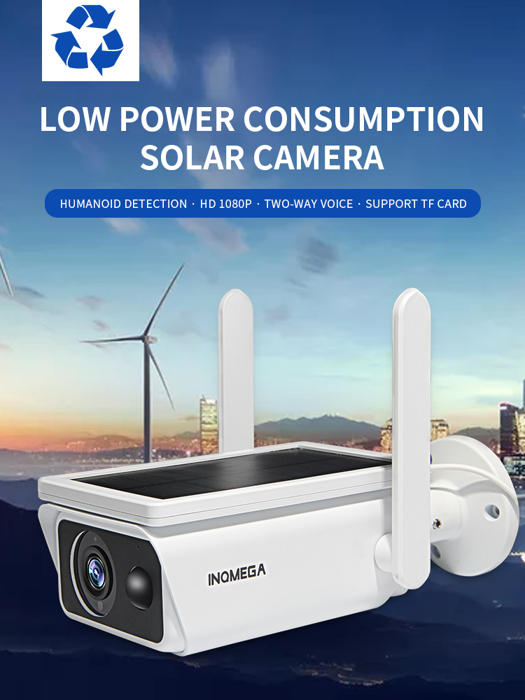 INQMEGA panel kamery słonecznej o niskiej mocy akumulator 1080P kamera monitorująca z szerokim widokiem Full HD Outdoor Indoor Security Wi