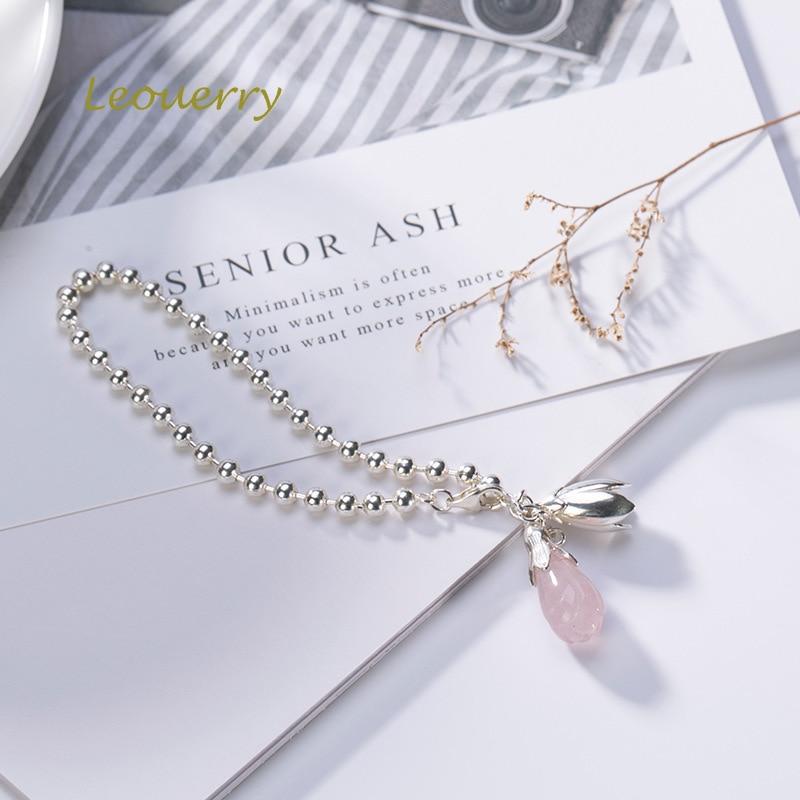 Bracelet de fleur de Magnolia en cristal de fraise naturel Leouerry 925 Bracelet de chaîne de perles en argent Sterling pour femmes bijoux de mode