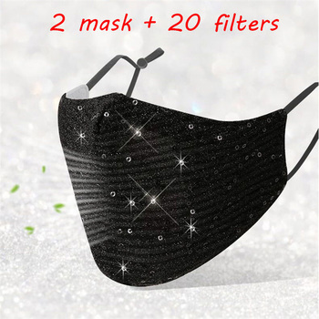 2pcs Protective Mask 2020 New Pm2.5 Outdoor Mouth Mask Washable Reuse Face Mask Sequins Protection Mask Friendly Skin Mask