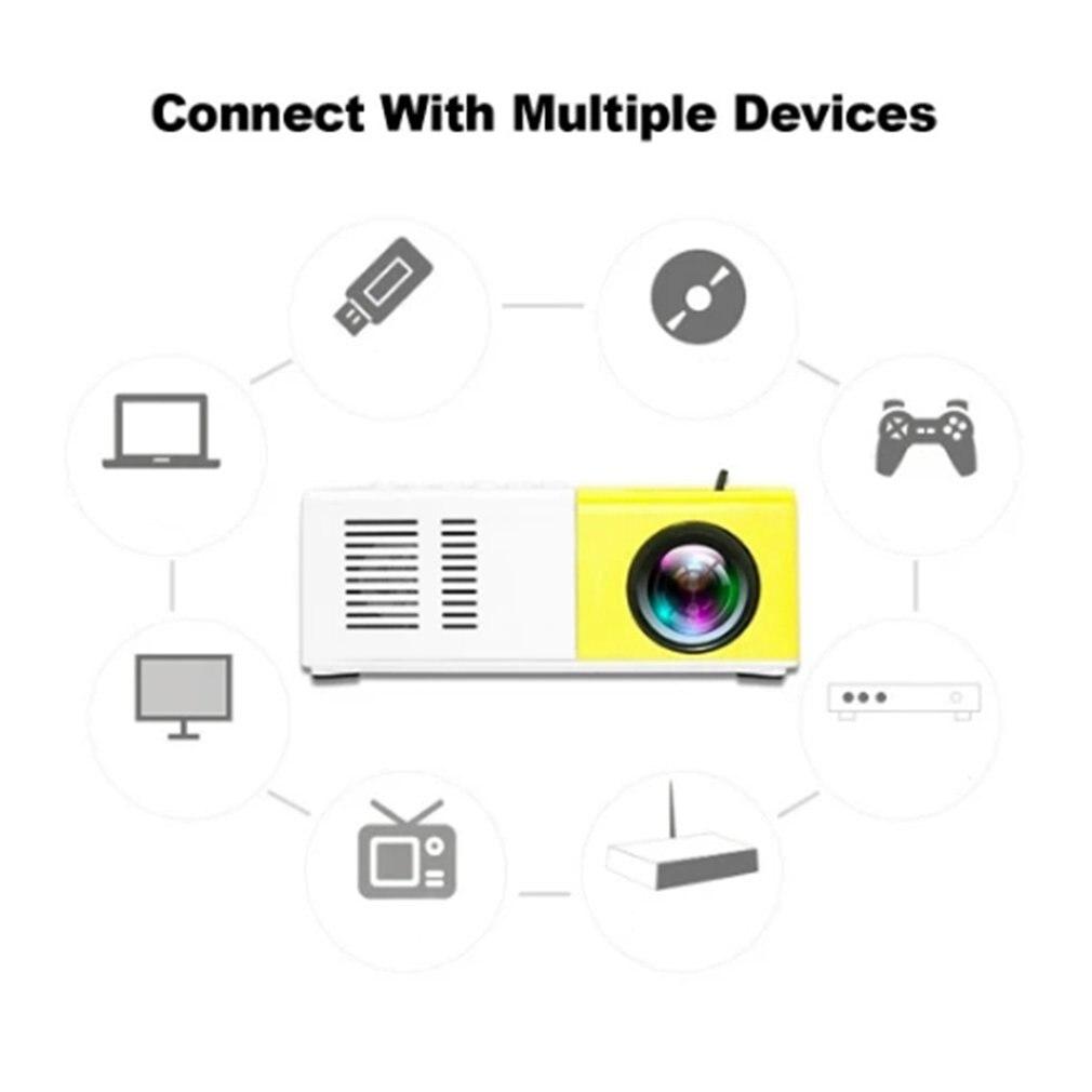 J9 portátil mini projetor 1080p mini casa projetor av usb sd tf cartão usb portátil bolso beamer com telefone pk yg300-1