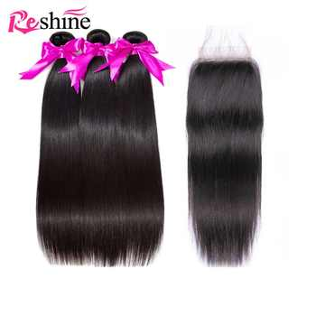 Brazilian Straight Hair Bundles With Closure 100% Human Hair Bundles With Closure Reshine Hair Remy Hair 3 Bundles With Closure - Category 🛒 All Category