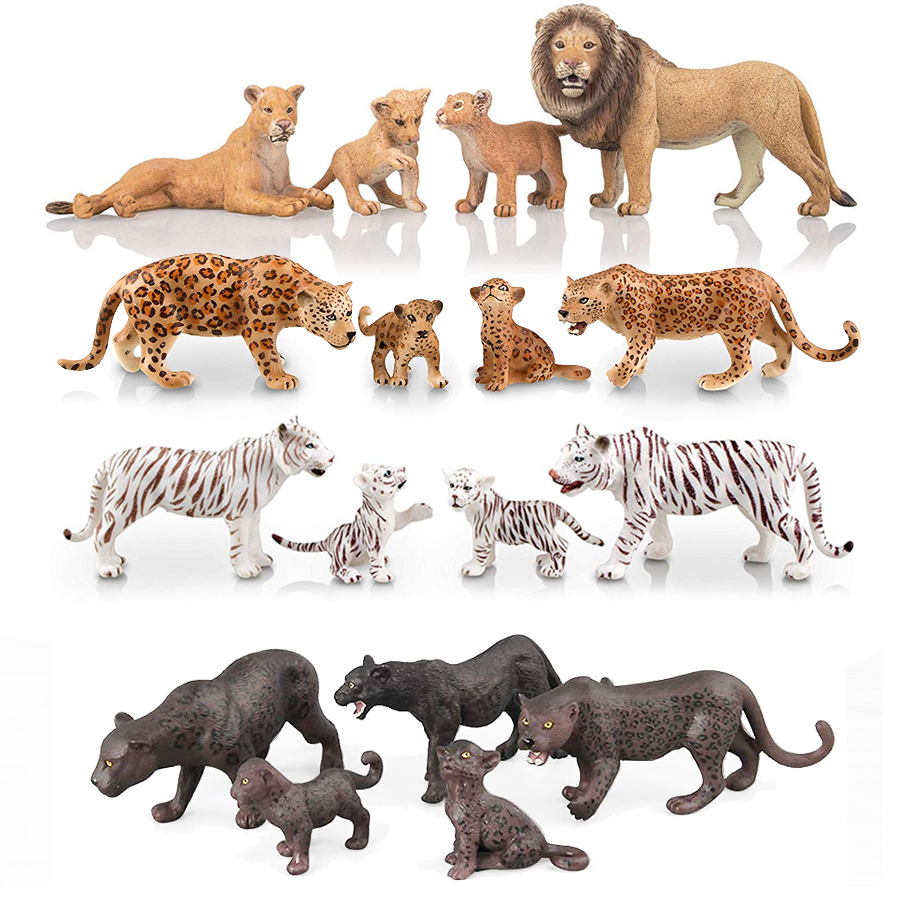 Realistic Wild Animals Lion,White Tigers,Leopards,Panther Figurines With Cubs, 2-5