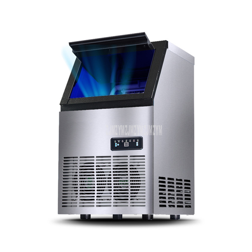 70kg/day Automatic Electric Square Shape Ice Maker Blu-ray Disinfect Ice Cube Making Machine For Milk Tea Coffee Bar Shop HZB-60