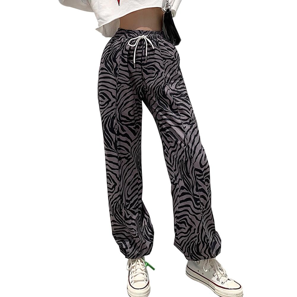 Zebra Printed Drawstring Sweatpants Joggers Women 2020 harajuku High Waist Loose Trousers Y2K Pants Capri Streetwear