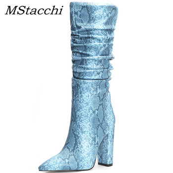 MStacchi Big Size 34-45 Women Knee-High Boots Woman Outside Super High Heels Shoes Sexy Ladies Pointed Toe Zie Party Shoes Mujer