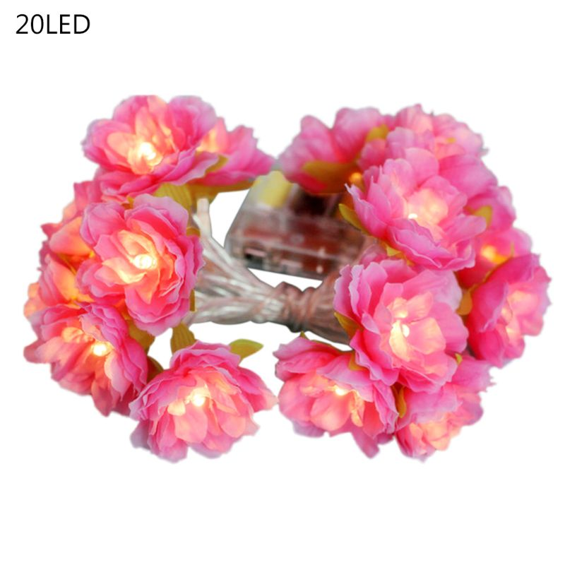 10/20 LED Artificial Silk Flower Decorative String Lights False Blossom Home Wedding Holiday Party Decoration Layout Props 24BA