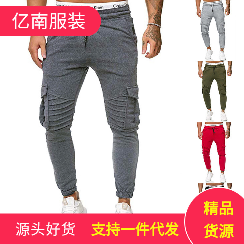 Ouma 2019 Autumn New Style Trend Of Fashion Men Solid Color Pocket Lace-up Athletic Pants K47