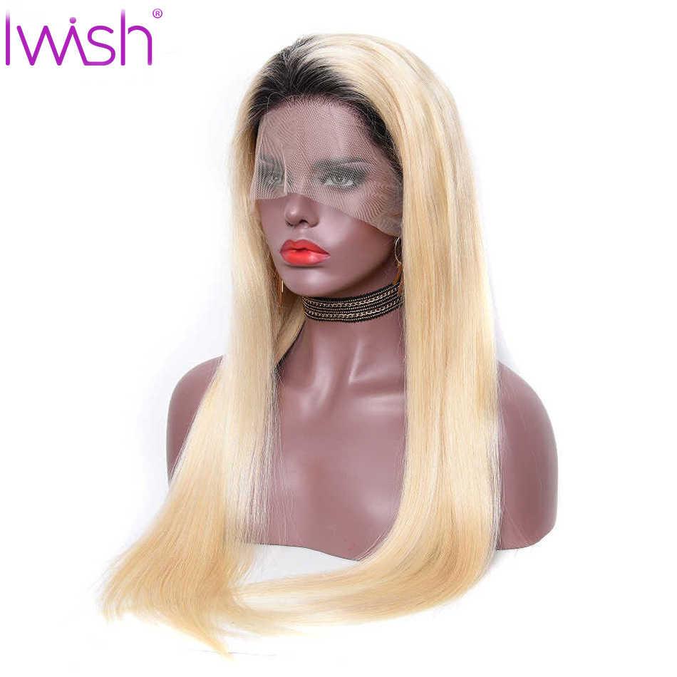 Pelucas de pelo humano de encaje Rubio Iwish Remy 150% de densidad pelo lacio brasileño 13x4 pelucas delanteras de encaje 613 rubia Peluca de pelo