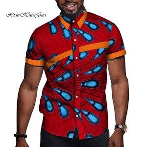 Image 4 - 아프리카 남자 옷 Bazin Riche 인쇄 인과 파티 남자 짧은 소매 탑스 셔츠 Dashiki Ankara WYN714