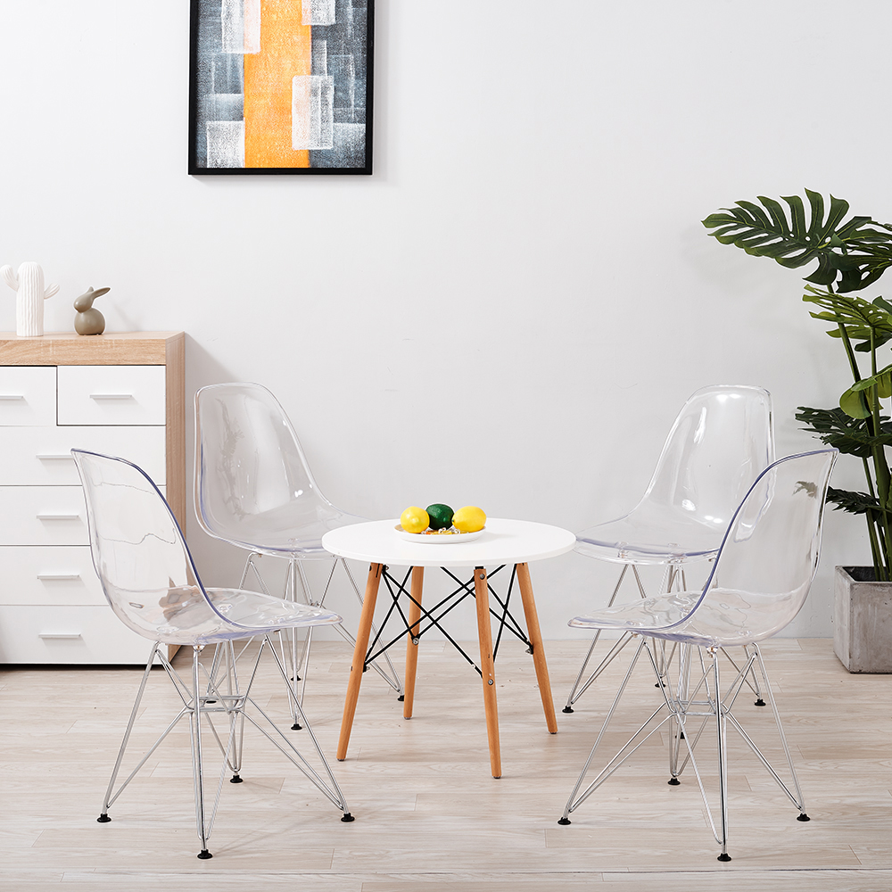 Panana Armless Transparent Leisure 2/4PCS Chair Plastic Crystal Clear Dining Chair Coffee Shop Office Steel With Pad Chairs