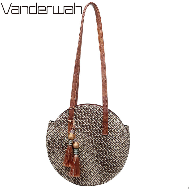 Summer Women Bags Ladies Large Handbag Handwoven Straw Bag Round Popularity Straw Women Shoulder Bag Beach Travel Bags Tote 2019