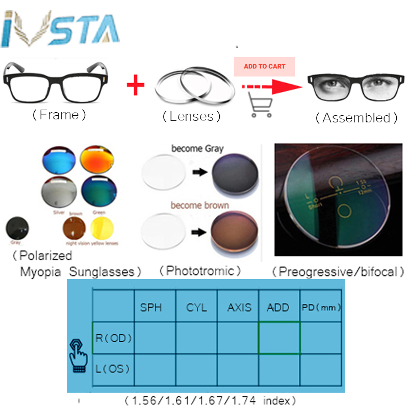 Image 4 - IVSTA OV 5186 with logo Gregory Peck Acetate Glasses Women Round Polarized Sunglasses Brand Designer with Box Myopia Optical-in Men's Eyewear Frames from Apparel Accessories