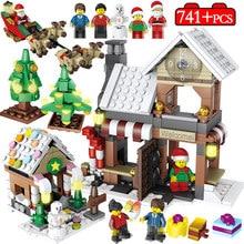 741 piezas invierno pueblo Navidad árbol muñeco de nieve bloques de construcción legoingly ciudad Navidad Santa Claus figuras ladrillos niños juguetes regalos