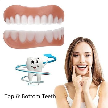 New Upper And Lower False Teeth Cover Perfect Smile Row Flex Denture Teeth For Double Fake Fit Of Braces Veneers Comfort Pa 2pcs perfect smile veneers silicone denture smile false veneerd teeth whitening of veneer dub in stock for correction of teeth